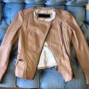 Leather beige peplum jacket Zara